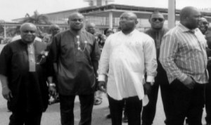 L-R: Elder Chidi Wiyioka, Chief of Staff, Government House, Rivers State, Sir Tony Okocha, Hon. Halin Uma and other dignitaries waiting for the arrival of former President  Olusegun Obasanjo at the  Port Harcourt International Airport, Omagwa last Monday. Photo: Prince Dele Obinna.