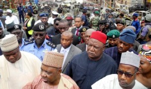 From 2nd left: Vice President Namadi Sambo, Secretary to the Government of the Federation, Sen. Anyim Pius Anyim and fct Minister, Sen. Bala Mohammed, at the scene of Emab Shopping Mall bomb blast on Aminu Kano Crescent, Wuse 2 in Abuja, yesterday. Photo: NAN