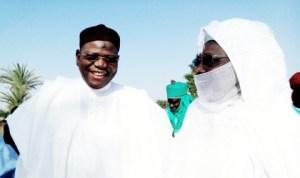 Governor Sule Lamido (left) of Jigawa State with the Emir of Dutse, Alhaji Nuhu Sunusi, during Sallah in Dutse, yesterday.