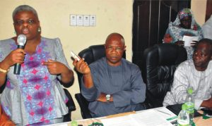 L-R:  Director-General, National Film and Video Censors Board (NFVCB), Mrs Patricia Bala, Director, Licensing and Document, Mr Chiedu Okolue and North East Zonal Director, Mr Edward Edion, at the  North East Film Industry Stakeholders Forum in Bauchi on Tuesday (10/3/15).