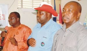 From Left: Newly Elected Chairman, Nigeria Labour Congress (NLC), Kaduna State Council, Ephraim James; Deputy Chairman, John Adaji and Treasurer, Danladi Yahaya, at the 11th NLC State Delegates Conference in Kaduna,  yesterday