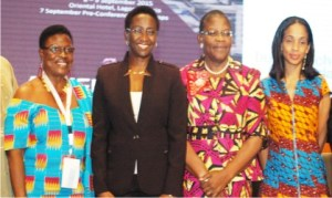 L-R: President, Ghana Association of  Women Entrepreneurs, Lucia Quachey, Managing Director, Ico conferences and Event Ltd, Irene Ochem, former Vice President, Africa Region, World Bank, Obiageli Ezekwesili  and Founder, Leap Africa, Ndidi Nwuneli, during Africa Women Innovation and Entrepreneurship Forum in Lagos, yesterday.