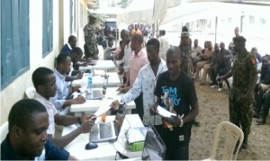 Niger Delta ex-militants being screened for their  monthly stipend by officials of the  Presidential Amnesty Programme of the Federal Government  in Port Harcourt, yesterday.