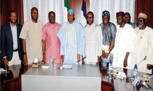 President Muhammadu Buhari (4th left) Chief of Staff, Alhaji Abba Kyari (2nd right) Minister of State for Petroleum, Mr Ibe Kachikwu (4th right) President, Nigeria Union of Petroleum and Natural Gas Workers (NUPENG)  Mr Igwe Achese (3rd left), President, Petroleum and Natural Gas Senior Staff Association of Nigeria (PENGASSAN),  Mr Francis Johnson (2nd left) Director General, Department of State Service (DSS) Mr Lawal Daura (right) National Industrial Relations Officer, PENGASSAN, Mr Nduka Ohaeri (left) and Chairman, Petroleum Tankers Driver, Solomon Oladiti (3rd right) after a meeting with President Buhari at the Presidential Villa, Abuja, recently.