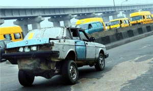 A car specially built for smuggling at Apapa wharf Bridge in Lagos, recently.