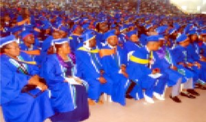 Cross section of graduating students at the convocation ceremony of Rivers State University of Science and Technology in Port Harcourt.
