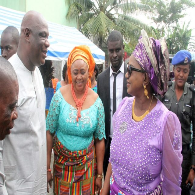Rivers State Deputy Governor, Dr. (Mrs) Ipalibo Harry Banigo (right), with  CTC Chairman, Degema LGA, Hon. (Mrs) Okorite Karie Adiele and CTC Chairman of Asari-Toru LGA, Hon. Waite Harry (left), during the 2017 Annual Adult Harvest Thanksgiving Service at St. Alban's Anglican Church, Obuama, yesterday.
