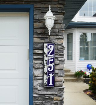 "6""x24"" Blue Birch House Number Sign Installed on a Home"