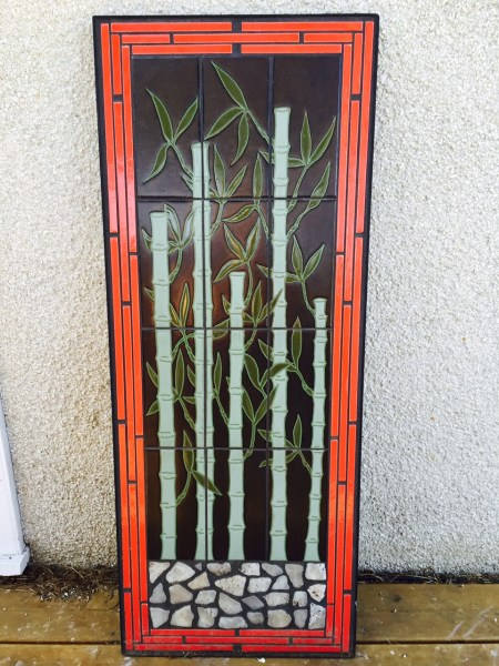 This beautiful outdoor bamboo tile mural is on it's way to its home in a customer's garden!