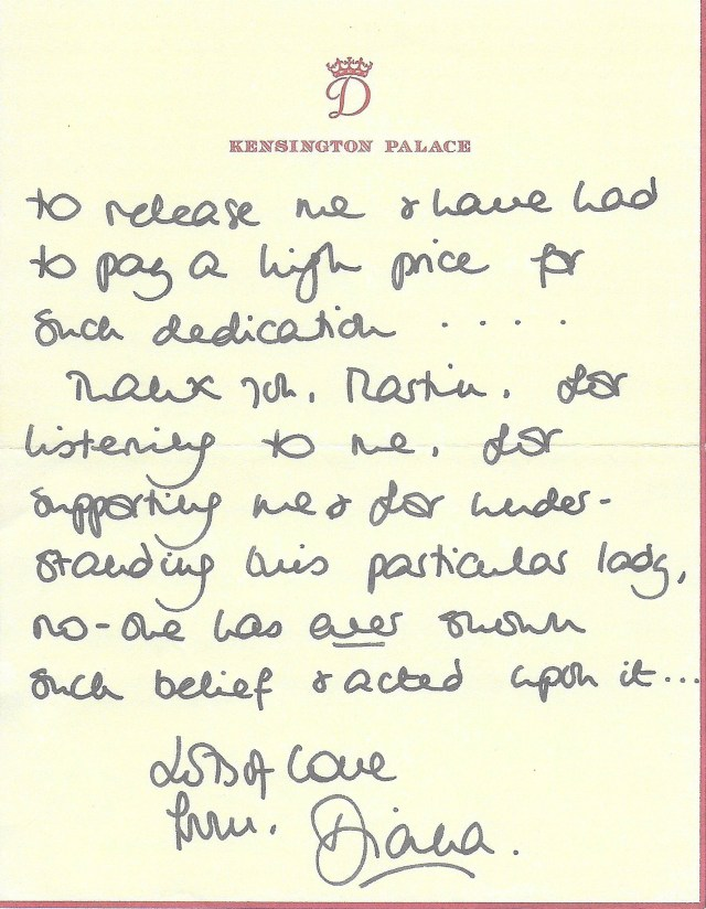 The thank-you note dated November 21, 1995 — the day after their BBC interview was broadcast