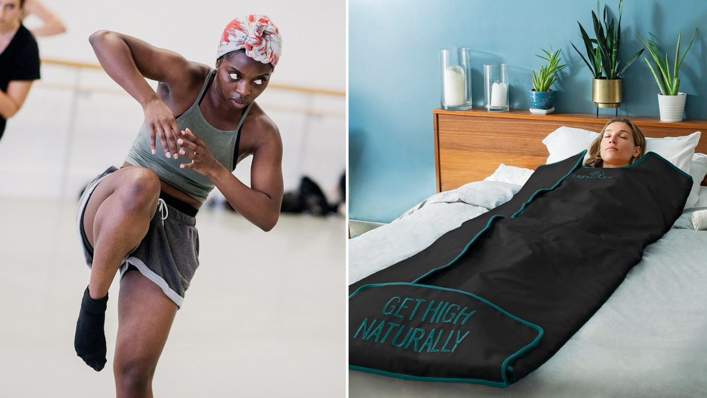 From left: Gaga dancers at the Place in London; relax in a HigherDose infrared sauna blanket