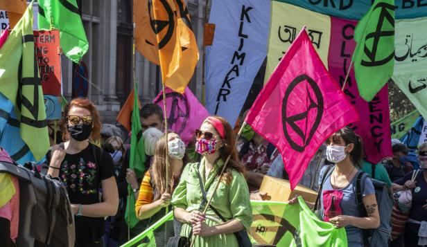 People join an Extinction Rebellion Protest in London this week