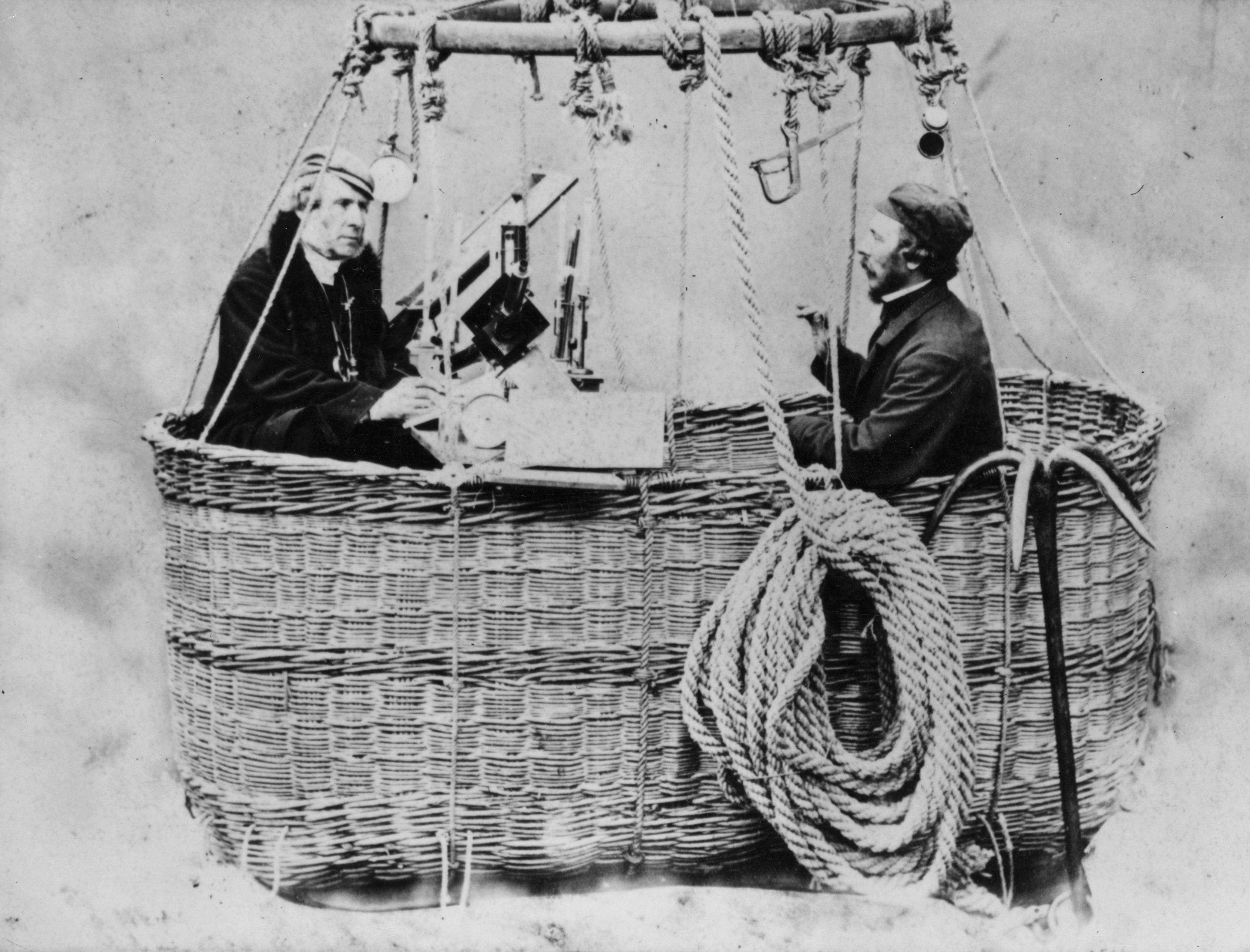 James Glaisher, left, and Henry Coxwell in the basket of a hot air balloon in about 1862