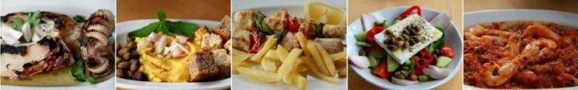 Dishes, Taverna Spilios, Falasarna Crete.