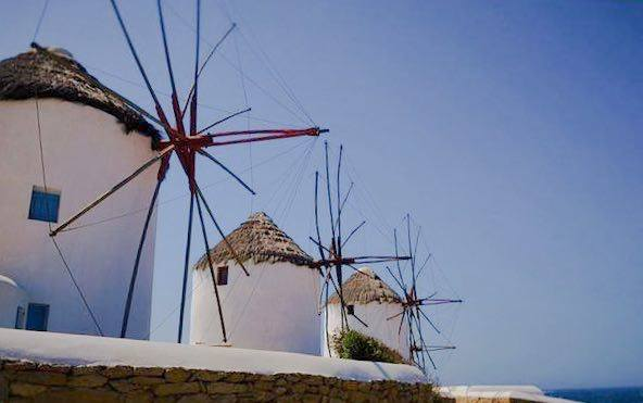 Iconic windmills from Mykonos, Greece. what to do in Greece during May