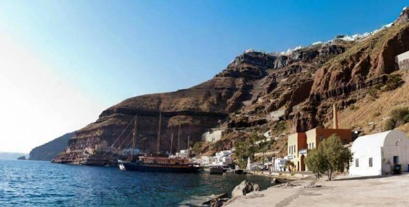Family travel in Greece - The Galileo cruiser docking in Santorini.