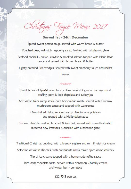 The Toad Xmas Menu