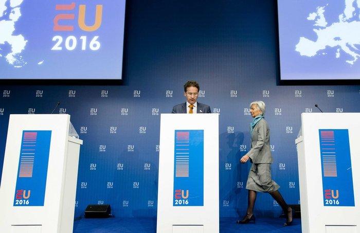 Κριστίν Λαγκάρντ και Γερούν Ντάισελμπλουμ στη συνέντευξη Τύπου μετά το πέρας του Eurogroup της Παρασκευής