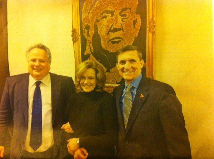 Η φωτογραφία που δημοσίευσε η «Καθημερινή» με τον κ. Κοτζιά, τον κ. Φλιν και την κ. Μακφέρλαντ στον Πύργο του Ντόναλντ Τραμπ