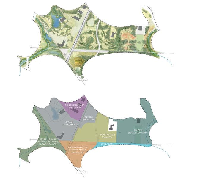 Σχέδιο διαμόρφωσης του νέου μητροπολιτικού πάρκου και κατανομή των επιμέρους περιοχών