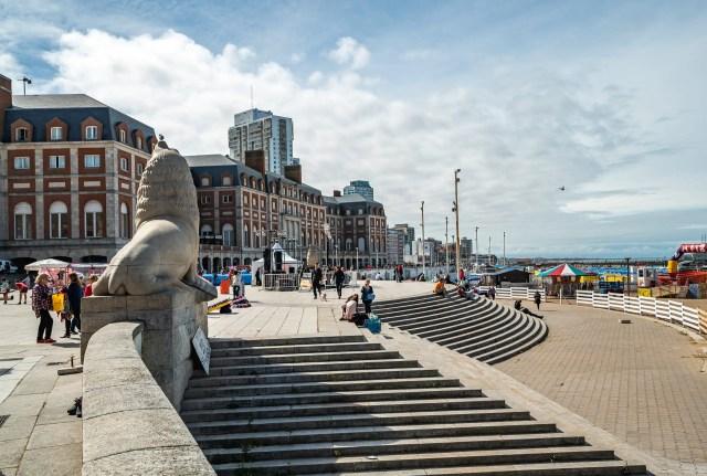 Sea Lion statue in front of the Casino at Mar Del Plata beach