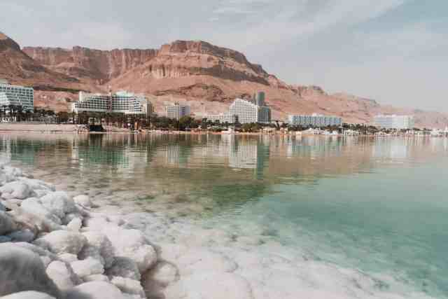 The coast and desert mountains at the Dead Sea, Israel. It is one of the most unique places to visit in Israel, beautiful israel