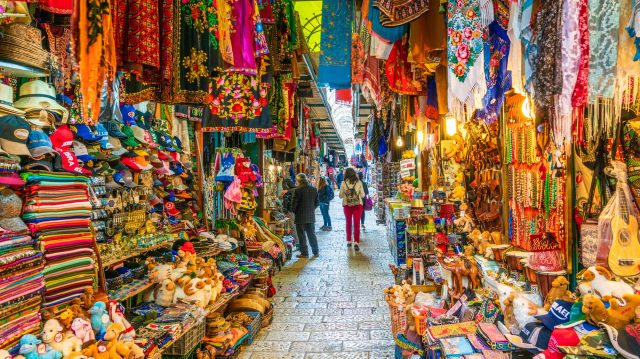 The market in the old city of Jerusalem, Israel - religious places to visit in israel