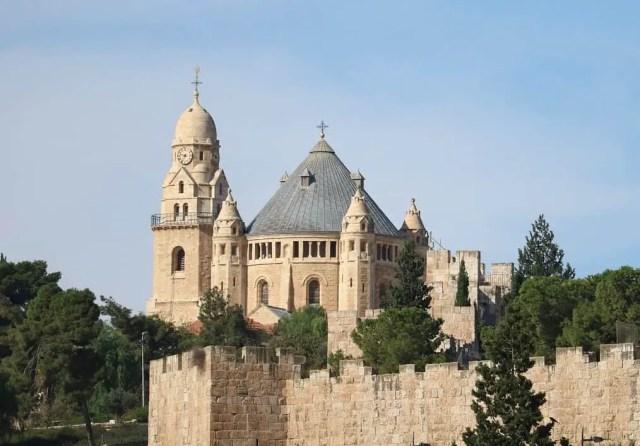 Dormition Abbey on Mount Zion, the city jerusalem is in israel