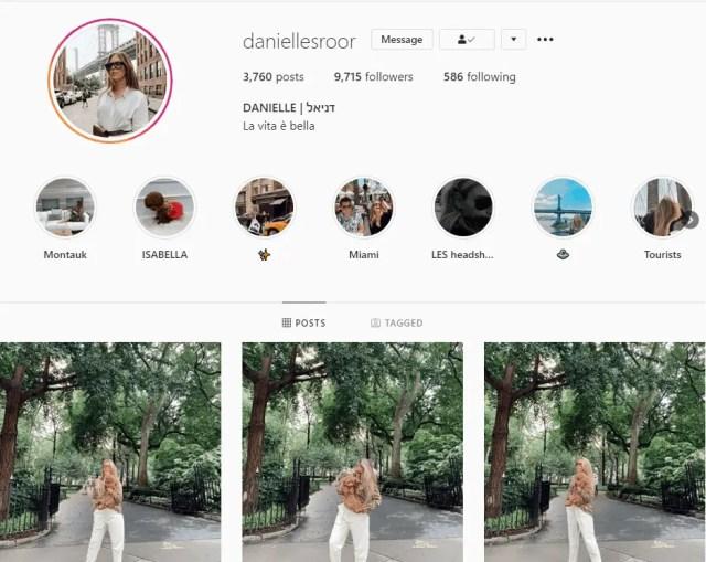 Danielle Instagram page