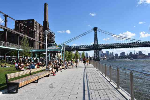 Williamsburg Bridge from Domino Park - fun things to do brooklyn. hipster things to do in brooklyn