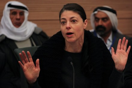 Labor MK Merav Michaeli, speaks at the Internal Affairs and Environment committee meeting in the Knesset, during a discussion regarding a bill regulating Bedouinsettlements in the Negev. Photo: Hadas Parush / Flash 90