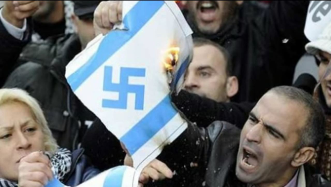 Images from European anti-Israel protests, like this one in France, bring to mind darker moments from European history. Photo: WorldBreakingNews / YouTube