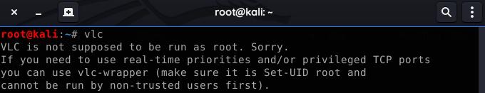 vlc run as root error