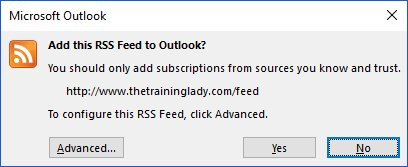 Add an RSS feed to Outlook