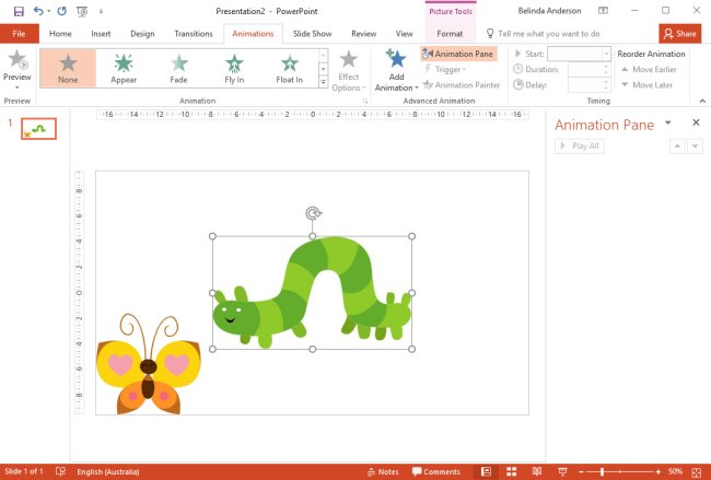 Use PowerPoint animations to make an object appear and disappear