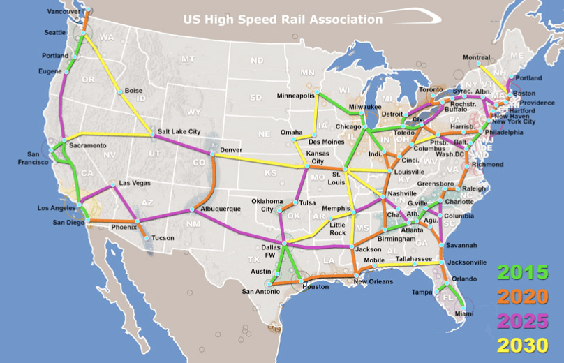 new us high speed rail association presents network plan the transport politic