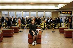 2005 Philadelphia Transit Strike - Woman Waiting to Board Regional Rail