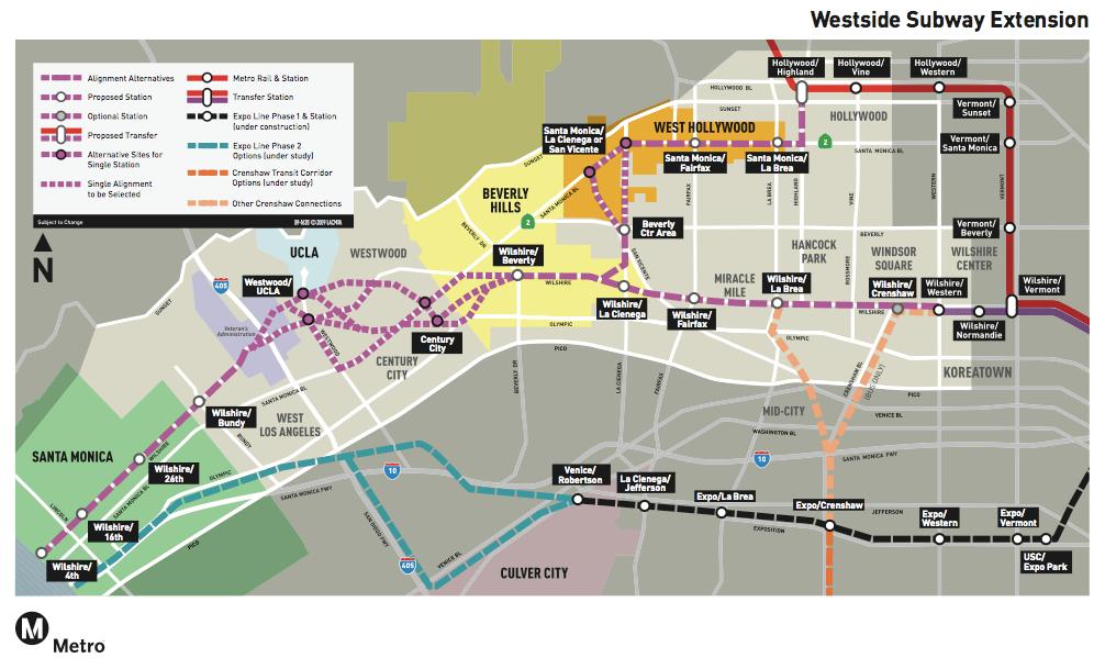Santa Monica Subway Map.Villaraigosa Campaigns For Westside Subway S Completion In Ten Years
