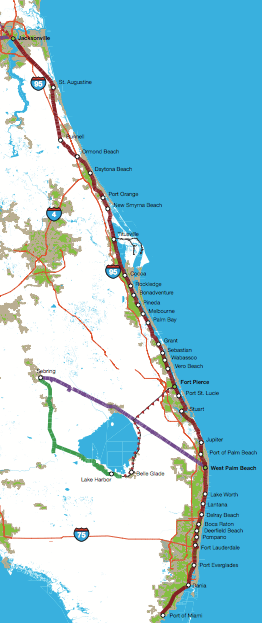East Coast Florida Map Florida East Coast Railway Studied for Potential Intercity and