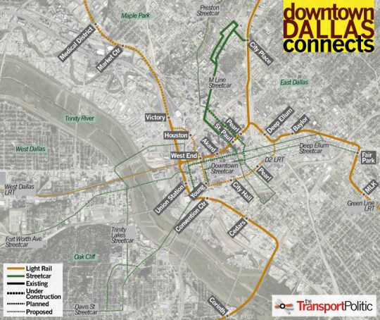 Downtown Dallas Transit Plans Map