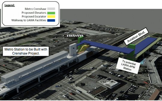 Proposed connection between Crenshaw Light Rail and LAX people mover.
