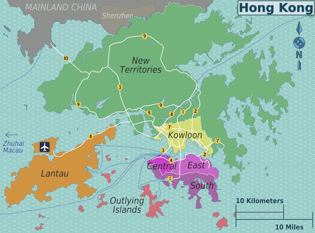 Hong Kong districts map