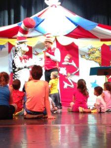 Tyler listening intently at Seuss-a-palooza Storytime