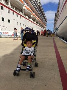 On the gangway in Cozumel