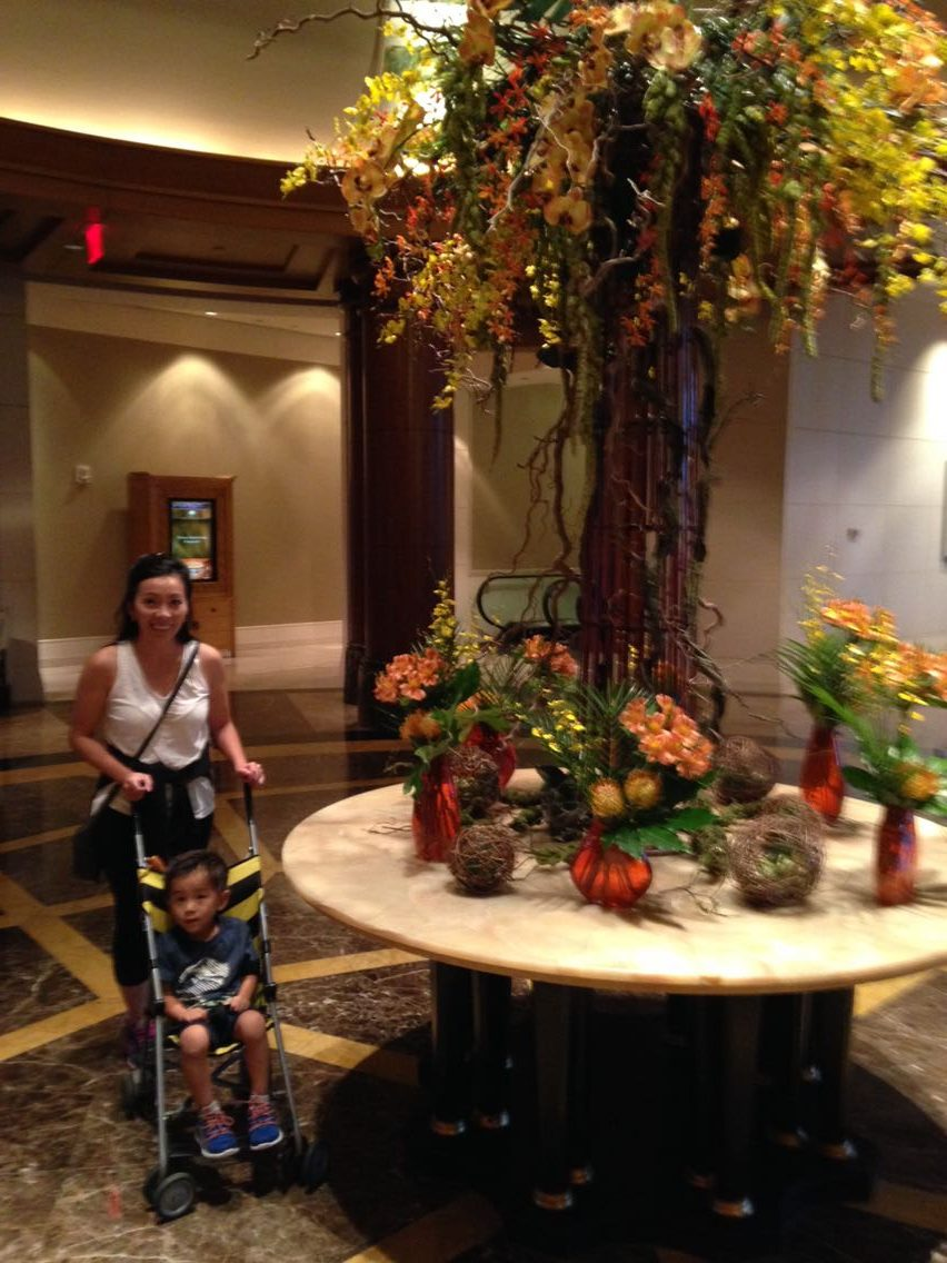 Tyler and Mom in the lobby of the Mandain Oriental Washington DC