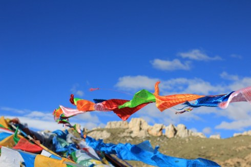 Prayer Flags on the Tibetan Plateau