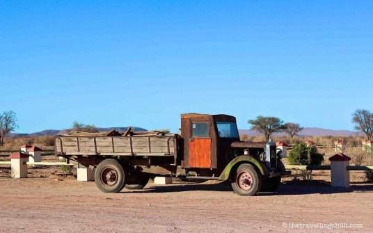 namibia vintage car canon roadhouse desert