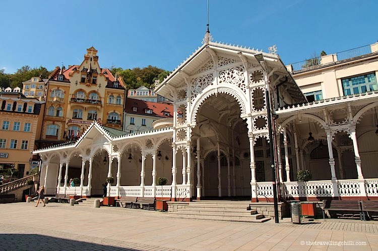 View of the Market Colonnade from the square in Karlovy Vary Carlsbad
