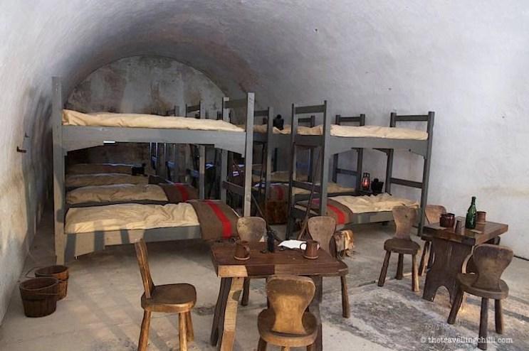 Replica of a dorm room in the citadel dinant