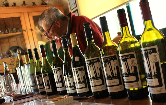 The line up of sample wines at Pennyweight Winery